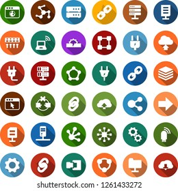 Color back flat icon set - wireless notebook vector, blockchain molecule, chain, cube, power plug, network, server, disconnection, folder, big data, browser, hub, usb modem, cloud upload, connection