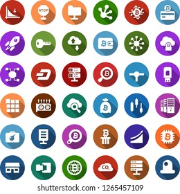 Color back flat icon set - bomb in case vector, dash sign, mining farm, equipment, japanese chart, down graph, growth, bitcoin card, bag, search, globe, chip, storefront, blockchain cube, column