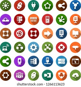 Color back flat icon set - wireless notebook vector, blockchain molecule, chain, cube, power plug, connect, connection, network, server, disconnection, folder, big data, browser, hub, usb modem