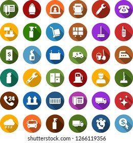 Color back flat icon set - airport bus vector, phone alarm, reception, sprayer, bucket and broom, mop, car fetlock, window cleaning, iron, agent, gas station, battery, workman, wrench, office, click