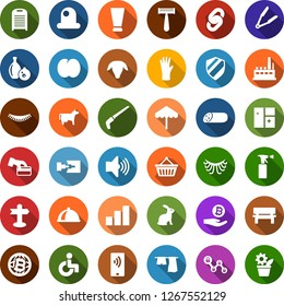 Color back flat icon set - cow vector, sheep, rabbit, sausage, plum, umbrella, disabled, creme, razor, hair iron, sprayer, rubber glove, eyelashes, growth graph, bitcoin palm, globe, basket, chain