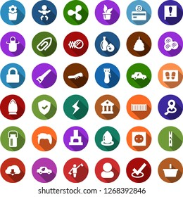 Color back flat icon set - milk can vector, wool, hay, dispatcher, baby, mirror, hair trimmer, man, ripple sign, storm, bitcoin card, clothespin, welcome mat, iron, seedling, flower in pot, saw