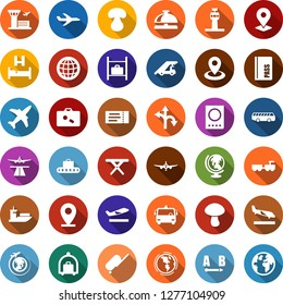Color back flat icon set - plane vector, airport tower, runway, suitcase, departure, arrival, baggage conveyor, trolley, bus, ticket, reception bell, passport, globe, bed, larry, ladder car, earth