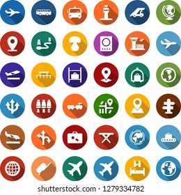Color back flat icon set - plane vector, airport tower, suitcase, departure, arrival, baggage conveyor, trolley, bus, signpost, passport, globe, bed, larry, ladder car, seat map, luggage storage