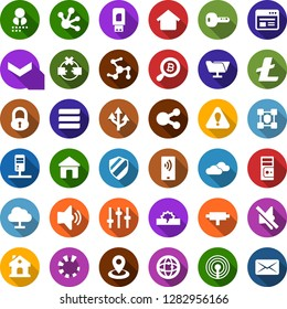 Color back flat icon set - antenna vector, clouds, lock, litecoin sign, bitcoin search, blockchain shield, house, navigation, mobile payment, connect, connection, network, server, disconnection, key