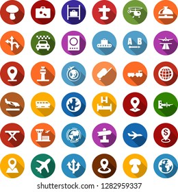 Color back flat icon set - airport tower vector, runway, taxi, suitcase, arrival, baggage conveyor, train, reception bell, passport, bed, larry, boarding, plane, helicopter, luggage storage, globe