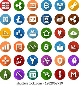 Color back flat icon set - bitcoin sign vector, ripple, litecoin, rocket, mining, farm, equipment, japanese chart, down graph, growth, exchange, card, site, cloud, shield, safe, cart, basket, chain