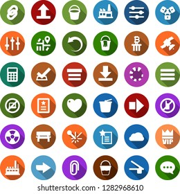 Color back flat icon set - no mobile vector, laptop, vip, right arrow, lock chain, bitcoin column, bucket, factory, nuclear, laser, navigation, satellite, calculator, bench, undo, loading, settings