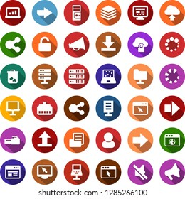 Color back flat icon set - right arrow vector, mining farm, notebook blocks, trash bin, folder document, account statistics, network, server, cloud lock, big data, browser, lan connector, share