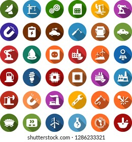Color back flat icon set - battery vector, sun panel, oil jack, mine trolley, gas station, flask, windmill, earth, thermal power plant, socket, factory, eco, gear, conveyor, water drop, bulb, magnet