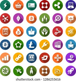 Color back flat icon set - etherium vector, ripple sign, litecoin, dash, rocket, storm, mining, farm, japanese chart, down graph, growth, bitcoin card, site, palm, bag, search, chip, basket, chain