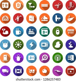 Color back flat icon set - plum vector, dispatcher, antenna, hot cup, reception bell, luggage scales, airport building, scissors, spa, wave of hair, beard, storm sign, bitcoin search, shield, safe