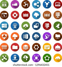 Color back flat icon set - antenna vector, blockchain molecule, cube, satellite, folder document, barcode, statistics report, account, network, server, cloud exchange, big data, browser, hub, upload