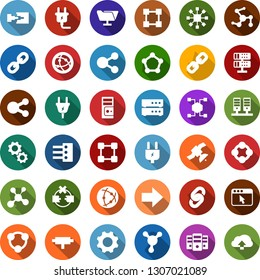 Color back flat icon set - blockchain molecule vector, chain, cube, power plug, satellite, connect, connection, network, server, disconnection, folder, big data, browser, hub, share, gear
