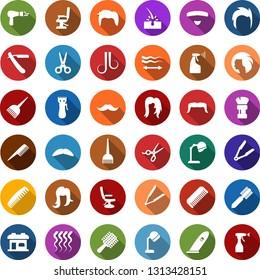 Color back flat icon set - scissors vector, comb, razor, hair dryer, mustache, trimmer, iron, dye, hood, barbershop building, shaving brush, hairdresser chair, straightening, wave of, woman, man