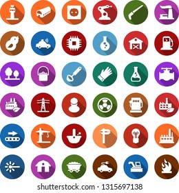 Color back flat icon set - barn vector, farm, harvester, airport tower, trowel, glove, saw, mine trolley, gas station, flask, oil pipeline, thermal power plant, bulb, line pillar, socket, forest