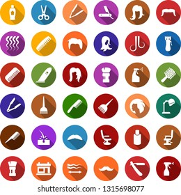 Color back flat icon set - scissors vector, comb, razor, shampoo, mustache, hair trimmer, iron, dye, hood dryer, barbershop building, shaving brush, hairdresser chair, straightening, wave of, woman