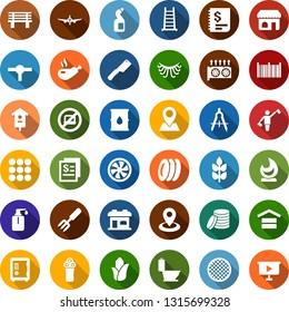 Color back flat icon set - spike vector, corn, dispatcher, no laptop, shop, plane, safe, electric razor, barbershop building, eyelashes, mining equipment, cooling, toilet, liquid soap, plates, boot