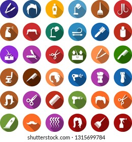 Color back flat icon set - scissors vector, comb, depilation, razor, hair dryer, shampoo, mustache, trimmer, iron, dye, hood, shaving brush, hairdresser chair, straightening, wave of, woman, man