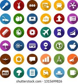 Color back flat icon set - mushroom vector, onion, tractor, baggage conveyor, credit card, plane, comb, mortar, growth graph, molecule, wheelbarrow, axe, caterpillar, lawn mower, co2, cpu, laser