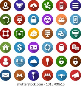 Color back flat icon set - waiting area vector, pump sprayer, monero sign, bitcoin phone, blockchain, pumpkin, seedling, nuclear, co2, calipers, navigation, heavy, route, dollar, coin, credit card