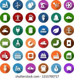 Color back flat icon set - offshore oil platform vector, fan, battery, leaf, gas station, flask, windmill, pipeline, barrel, hydro power plant, line pillar, plug, socket, factory, eco, conveyor, car