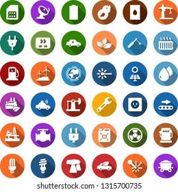 Color back flat icon set - offshore oil platform vector, battery, sun panel, jack, leaf, gas station, windmill, pipeline, earth, thermal power plant, barrel, plug, socket, eco factory, conveyor, car