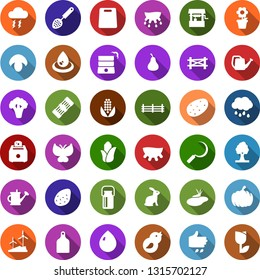 Color back flat icon set - sowing vector, udder, milk can, rabbit, mushroom, farm fence, potato, pear, corn, broccoli, storm cloud, water drop, sproute, butterfly, well, pond, bird house, tree, rain