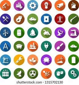 Color back flat icon set - shovel and rake vector, farm, harvester, trowel, saw, offshore oil platform, battery, mine trolley, leaf, windmill, thermal power plant, barrel, bulb, line pillar, plug