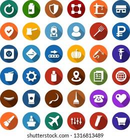 Color back flat icon set - milk vector, pumpkin, smoking place, reception, creme, shampoo, electric razor, hair dye, phone, make up brush, eyelashes, storefront, blockchain, cleaner woman, house