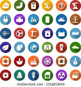Color back flat icon set - offshore oil platform vector, fan, battery, jack, leaf, flask, pipeline, earth, bulb, power line pillar, plug, socket, factory, conveyor, canister, water drop, nuclear