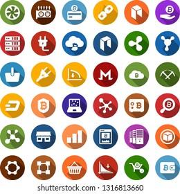 Color back flat icon set - ripple sign vector, dash, monero, neo, mining, farm, equipment, down graph, growth, bitcoin card, site, palm, search, cloud, shield, safe, storefront, basket, molecule