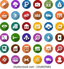 Color back flat icon set - suitcase vector, boarding, plane globe, dash sign, monero, storm, bitcoin site, bag, search, cloud, chip, storefront, basket, presentation graph, barrel, sim card, term