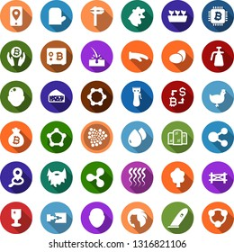 Color back flat icon set - chicken vector, eggs, farm fence, cheese, bald head, hair trimmer, mirror, wave of, woman, beard, depilation, ripple sign, iota, bitcoin exchange, palm, bag, safe, chip