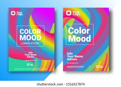 COLOR BACKGROUND. Bright colors Party poster. Magazine cover. Club night flyer.  Abstract gradients shape waves  - Vector