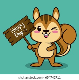 color background with cute kawaii animal chipmunk standing with wooden sign happy day