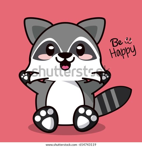 Image Vectorielle De Stock De Color Background Cute Kawaii Animal