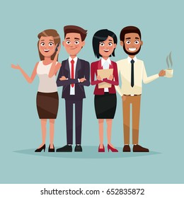 color background full body set of executives characters for business