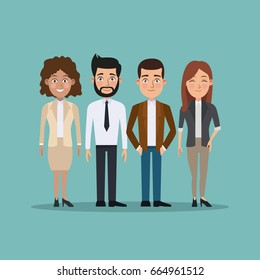color background full body set of business men and women