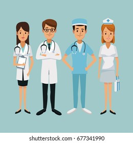 color background hospital medical staff team doctors