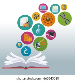 color background open book with bubbles icons academic knowledge