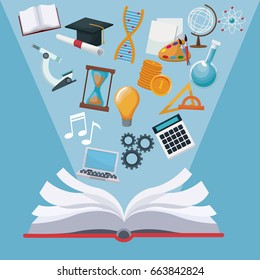 color background open book with light halo icons academic knowledge