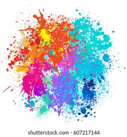 Color background of paint splashes. Vector illustration