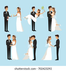 color background with scenes of newly married couple in different standing