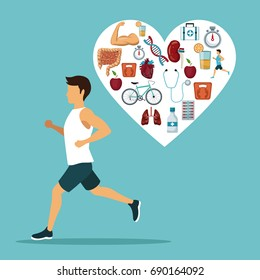 color background with sport man ruinning with heart shape frame with icons of heath elements