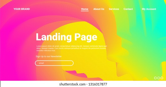 COLOR BACKGROUND. Website design template Page. Neon Bright Colors. Abstract gradients waves  - Vector