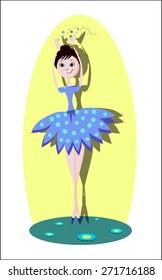 color ballerina dance girl with flowers cartoon