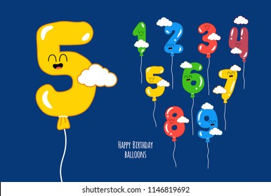 Color balloons numbers for Birthday. Created for the celebration.