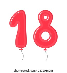 Color Balloons with Numbers Eighteen Decoration Elements Set for Holiday, Anniversary and Party Symbol of Celebration. Vector illustration