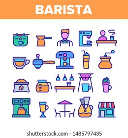 Color Barista Equipment Sign Icons Set Vector Thin Line. Coffee And Latte Cup, Beverage Machine And Barista Brewing Pot Linear Pictograms. Morning Energetic Drink Illustrations